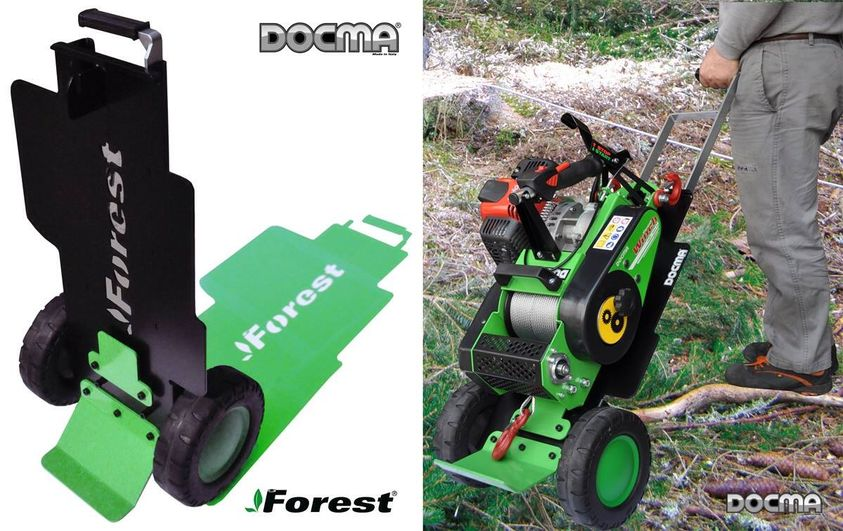 New: new trolley for VF150 winches.  News: forest winch cart.  Nouveauté: chariot porte treuil.
