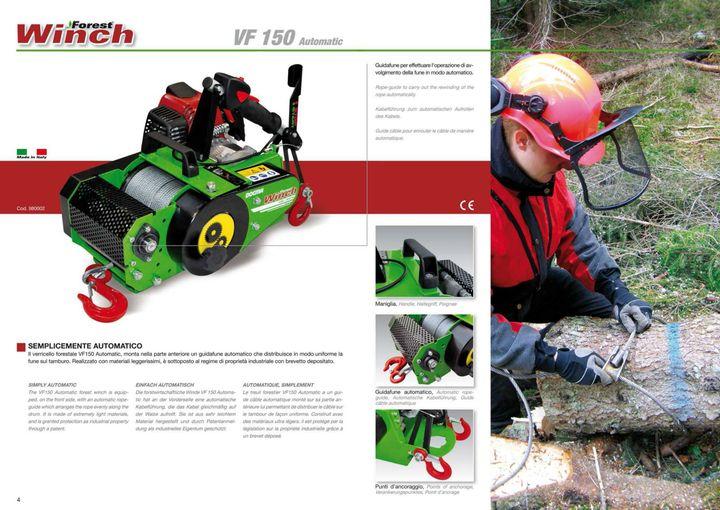 VF150 AUTOMATIC: sistema di avvolgimento automatico brevettato.  VF150 AUTOMATIC: patented automatic rewinding system ...